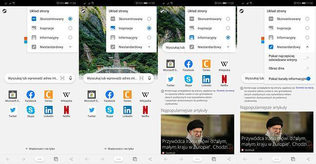 Edge na Androida pozwala wygodnie zmieniać wygląd strony startowej.