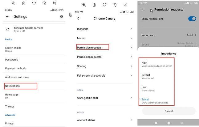 Nowe ustawienia powiadomień w Chrome Canary na Androidzie, źródło: TechDows.