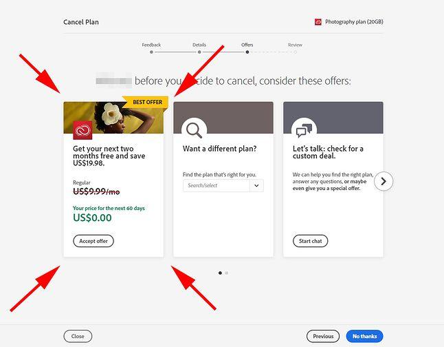 2 miesiące Adobe CC za darmo w ramach oferty przy próbie anulowania subskrypcji, źródło: PetaPixel.