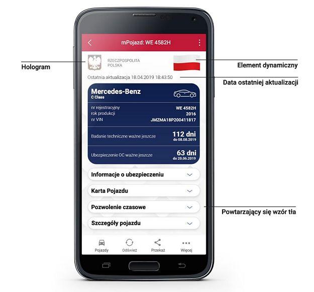 mPojazd w aplikacji mObywatel, źródło: gov.pl.