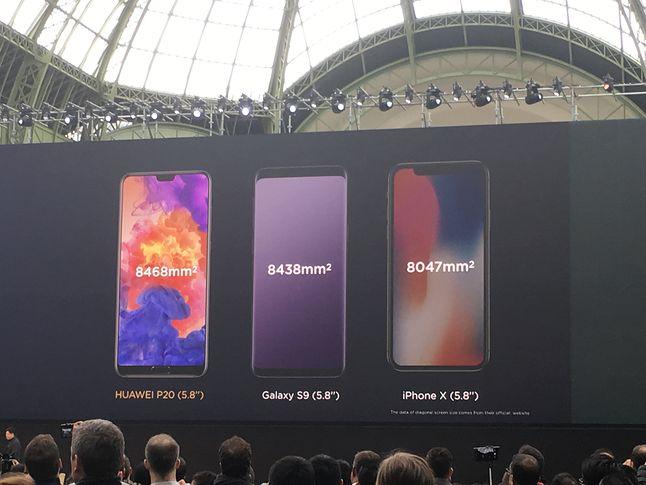 Dość nieoczekiwanie zdecydowano pozostawić fizyczny przycisk na dolnej krawędzi. Boczne i górne ramki w nowym Huaweiu wydają się być węższe niż w iPhonie X nie tylko na slajdach.