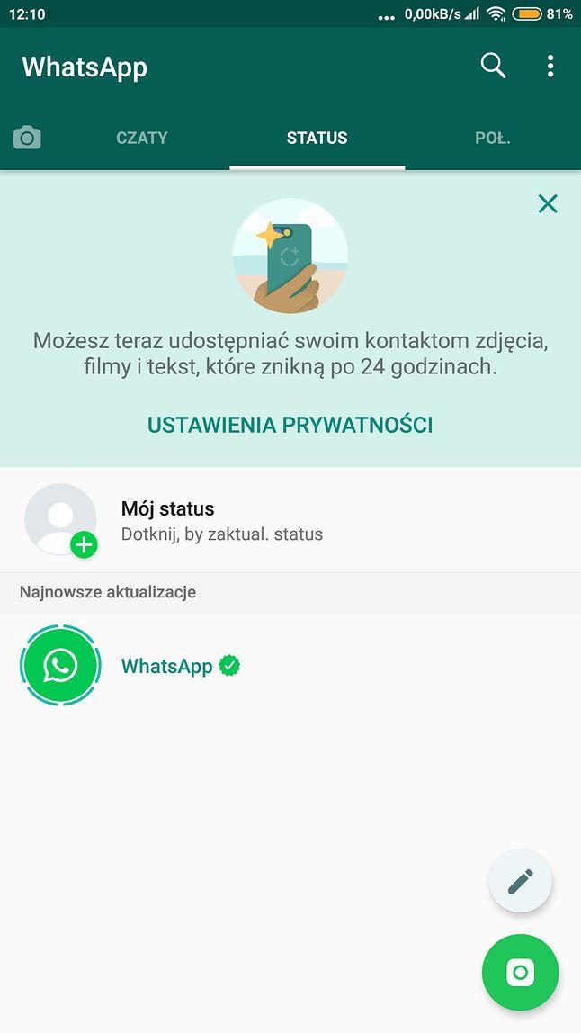 """WhatsApp, karta """"Status"""" – to tu w przyszłości będą wyświetlane reklamy"""