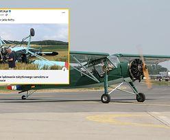Awaryjne lądowanie zabytkowego samolotu. Maszyna dachowała