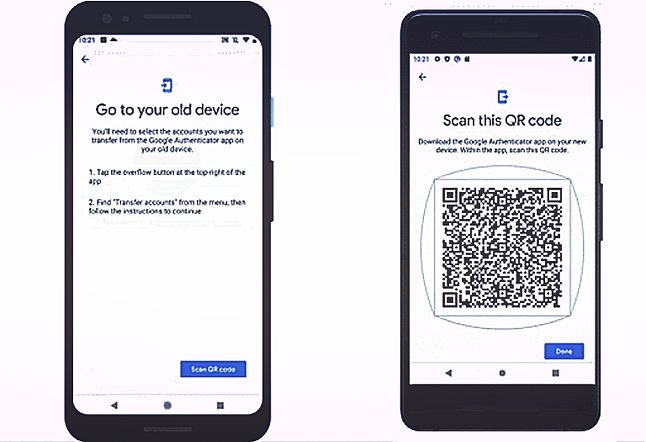 Proces transferu danych Google Authenticator ze starego telefonu na nowy, fot. Google