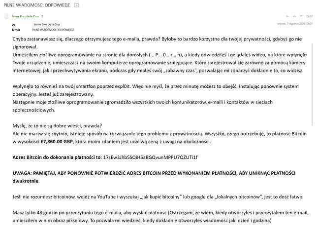 Fragment wiadomości od oszustów. Schemat jest znany od wielu miesięcy.