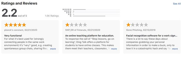 Oceny DingTalk w App Store, fot. App Store
