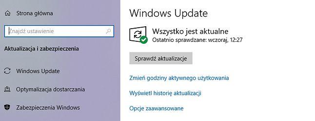 Status Windows Update w systemie Windows 10.