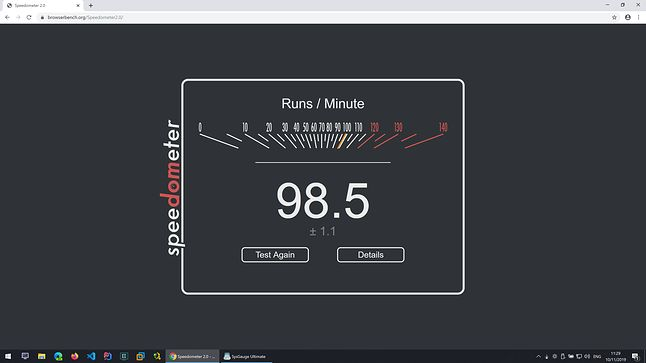 Google Chrome - Speedometer - Wynik: 98,5