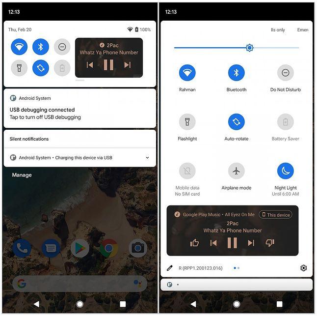 Nowy układ powiadomień i skrótów do sterowania odtwarzaczem w Androidzie 11, fot. XDA Developers.