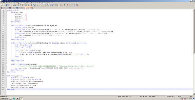 Dziwne symbole stringu wyglądają inaczej w edytorze Visual Basic