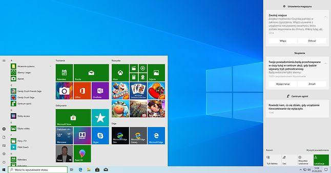Jasny motyw interfejsu Windows 10 z zielonym kolorem wiodącym.