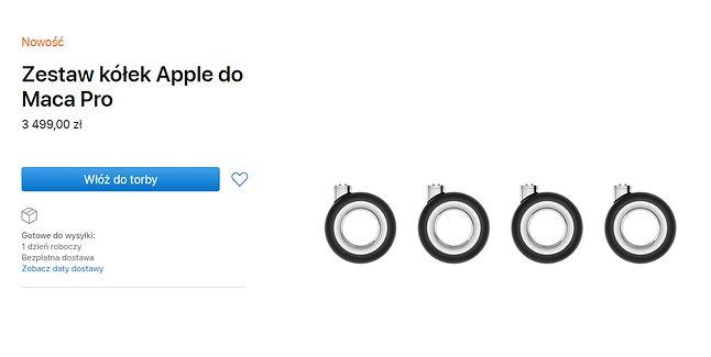 Kółka do Maca Pro w sklepie Apple, źródło: Apple.