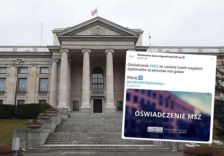 """Polska wydala trzech pracowników rosyjskiej ambasady. """"Działali na szkodę kraju"""""""