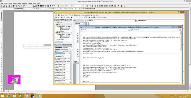 Zaciemnione makro VBA w arkuszu Excela w dokumencie RTF (fot. Kamil Dudek)