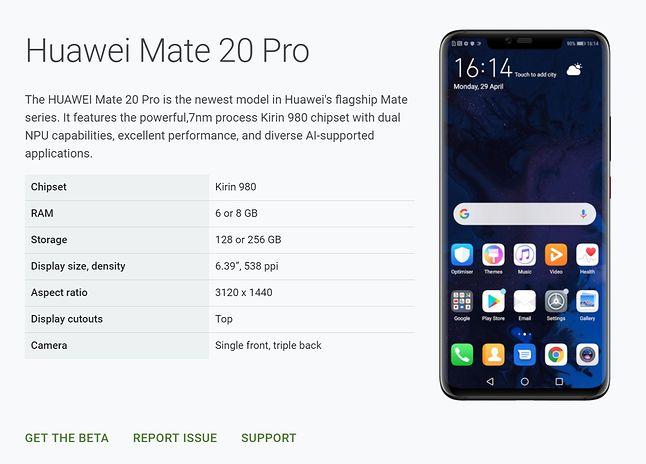 Zrzut ekranu z Android Developers (Google)