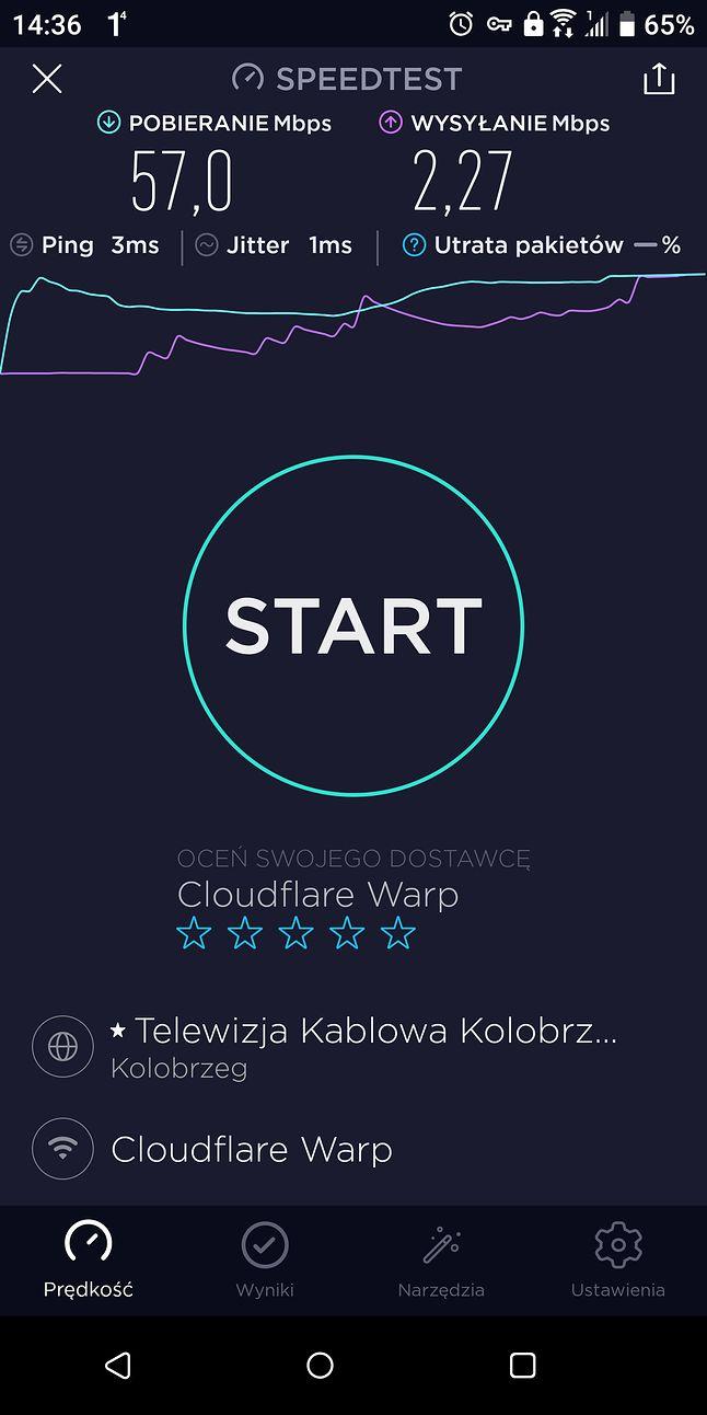 Test z włączonym VPN WARP+