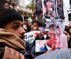 Londyn. Starcie policji z muzułmanami sprzeciwiającymi się Macronowi
