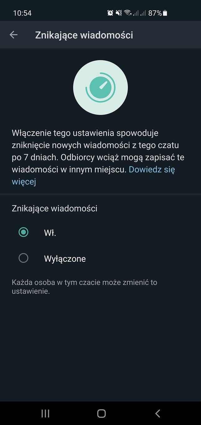 Znikające wiadomości w WhatsAppie
