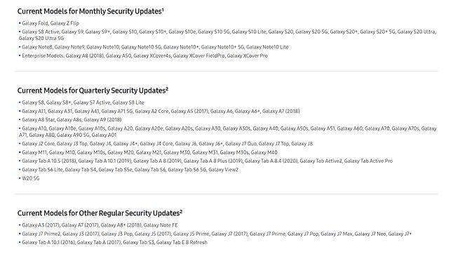 Nie wszystkie smartfony Samsunga otrzymują dziś comiesięczne aktualizacje, źródło: Samsung Mobile Security.