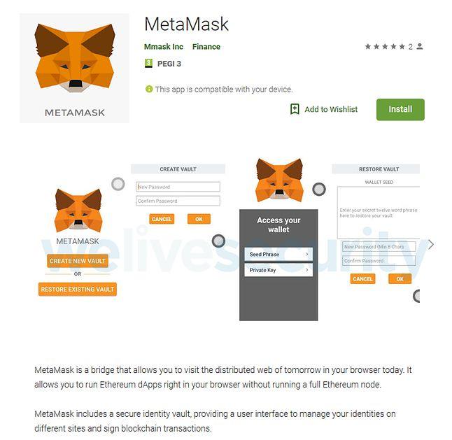 MetMask w Google Play, źródło: ESET.