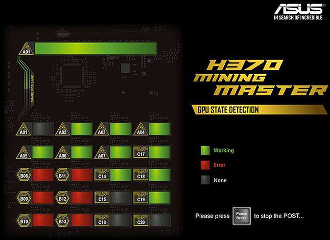 Asus H370 Mining Master – ekran POST, źródło: extremetech.com