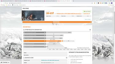 wynik testu z kartą GeForce RTX 2080 Super