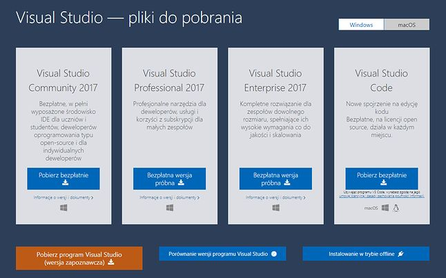 Visual Studio 2017 to wciąż najnowsza wersja środowiska dla programistów oferowana przez Microsoft.