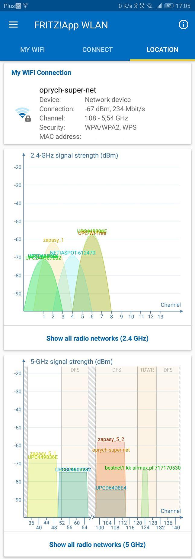 Odległość 20 m od routera, przeszkody: 2 x drzwi i 2 x ściana