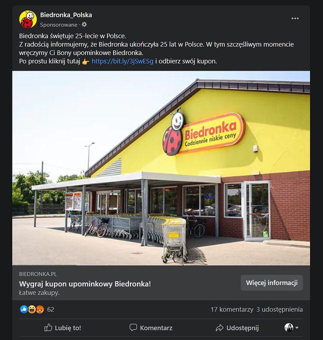 Fałszywy post na Facebooku. Ktoś opłacił jego promowanie, ale nie ma związku z oficjalnym kontem Biedronki, fot. Oskar Ziomek.