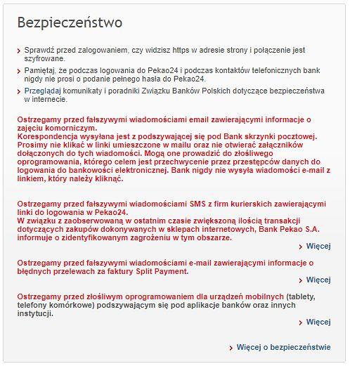 Ostrzeżenia widoczne dla klientów logujących się do bankowości Pekao, źródło: bankowość internetowa Pekao.