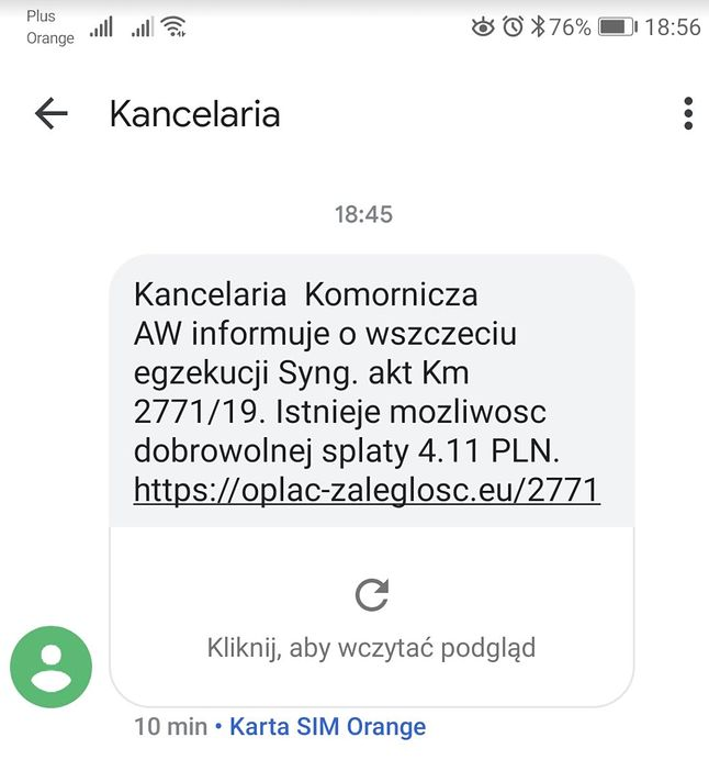 """SMS od oszustów udających """"Kancelarię"""", źródło: Niebezpiecznik."""