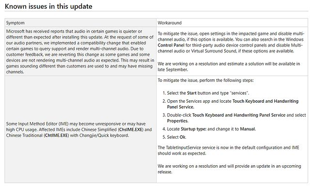 Opis znanych błędów po aktualizacji KB4515384. Te tabele prawie nigdy nie są puste, źródło: Microsoft.