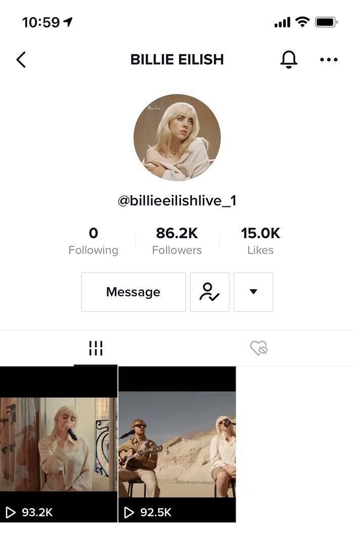 Fake konto Billie Eilish