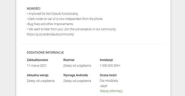 Android Auto w Sklepie Play z opisem zmian dotyczącym wersji sprzed dobrych kilku miesięcy, fot. Oskar Ziomek.