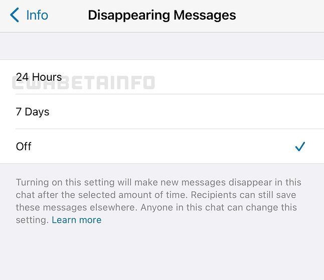 Nowa, 24-godzinna opcja automatycznego usuwania wiadomości w WhatsAppie (faza testowa).