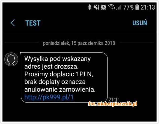 Tego typu SMS lepiej od razu usunąć. Źródło: Niebezpiecznik