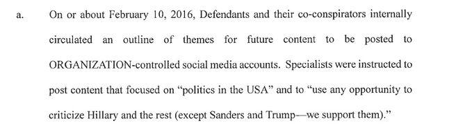 Akt oskarżenia, s. 17. Według FBI, pracownicy IRA mieli krytykować wszystkich kandydatów z wyłączeniem Donalda Trumpa i Berniego Sandersa.