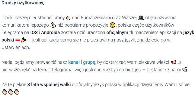 Komunikat o wprowadzeniu polskiej wersji Telegramu (via telegram.com.pl), fot. Jakub Krawczyński