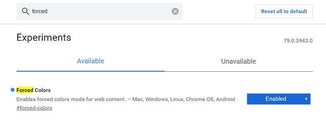 Ustawienia eksperymentalne w Chrome Canary.