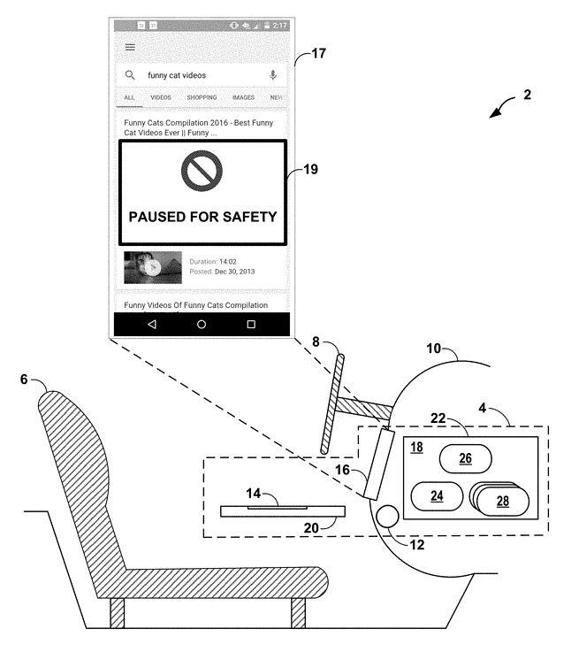 Prototyp powiadomienia o zablokowaniu smartfona, fot. Google Patents.