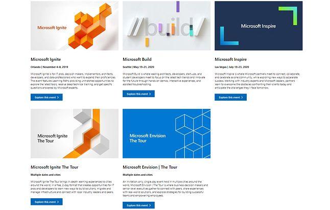 Nadchodzące konferencje Microsoftu, źródło: Micosoft Flagship Events.