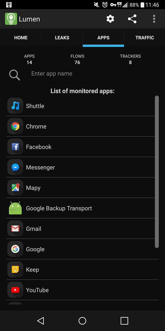 Widok listy aplikacji, które przesyłają dane do analizy.