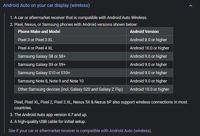 Smartfony, w których można korzystać z bezprzewodowego Androida Auto w samochodzie, źródło: Google.