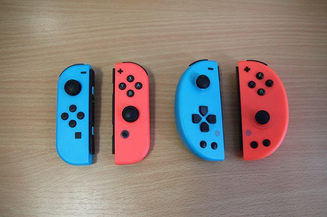 Po prawej Nintendo Joy-Cons, po lewej Gioteck NSW JC-20.