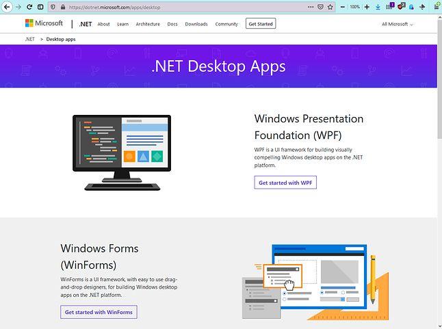 To główna strona działu Desktop. Ekhm... WPF i Windows Forms? Który mamy rok?