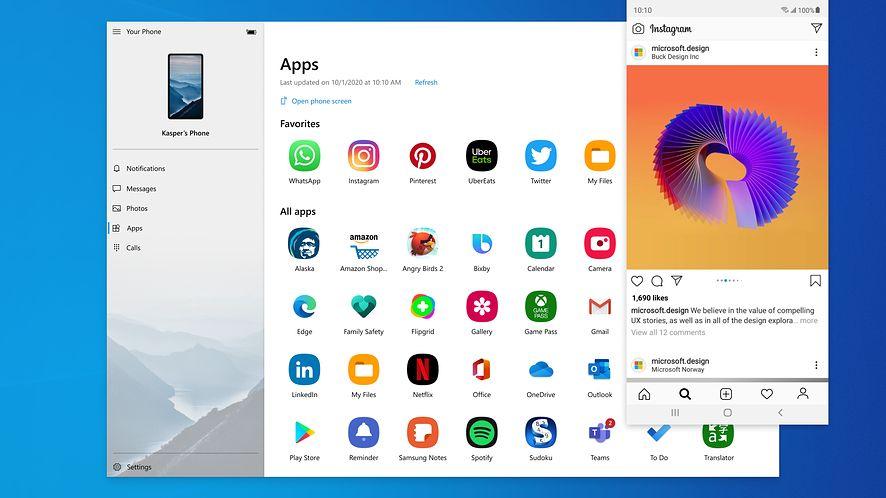 Aplikacje z Androida będzie można wygodnie wyświetlać na pulpicie Windows 10, fot. Microsoft.