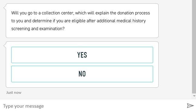 Bot zadaje pytania, a na końcu oceni, czy możesz być dawcą osocza, źródło: covig-19plasmaalliance.org