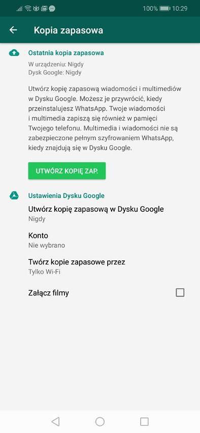 WhatsApp ostrzega o braku pełnego szyfrowania.