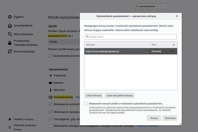 Lista stron wysyłających powiadomienia – Mozilla Firefox