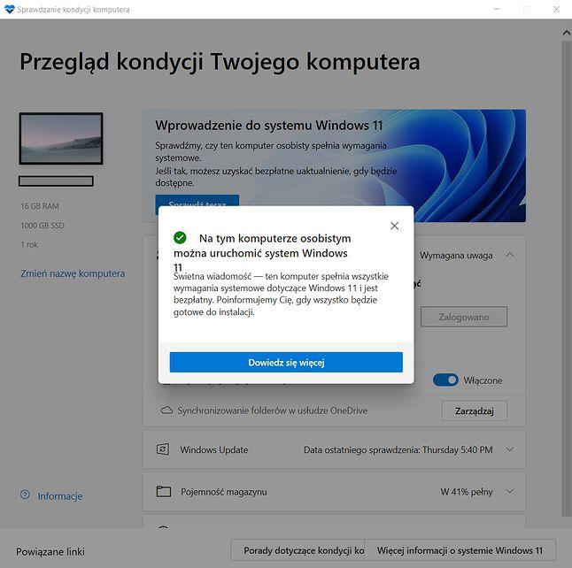 Asystent aktualizacji powie nam o podwyższonych wymaganiach Windows 11... ogólnikowo, niedokładnie i łamaną polszczyzną
